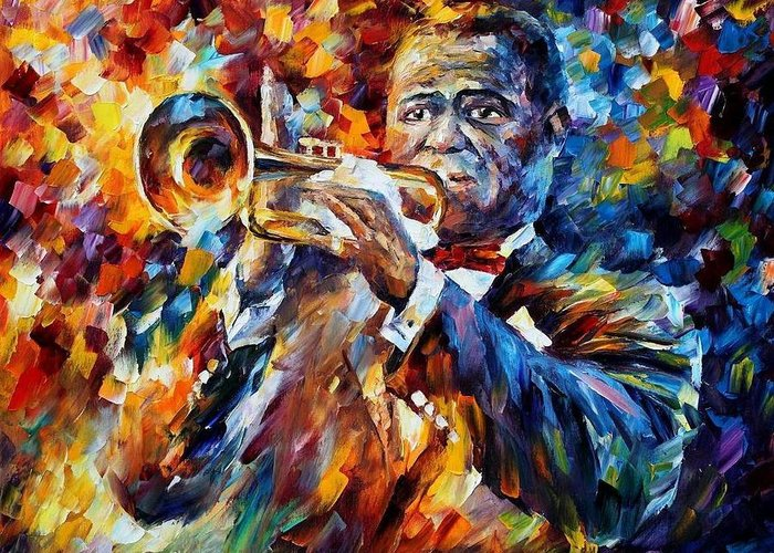 Afremov Greeting Card featuring the painting Louis Armstrong by Leonid Afremov
