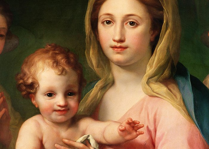 Madonna Greeting Card featuring the painting Madonna And Child by Anton Raphael Mengs