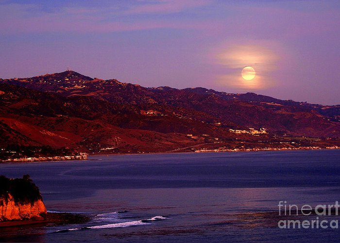 Moonrise Greeting Card featuring the photograph Malibu Moonrise by Marc Bittan