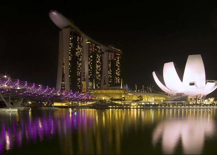 Singapore Greeting Card featuring the photograph Marina Bay Sands Hotel And Artscience Museum In Singapore by Zoe Ferrie