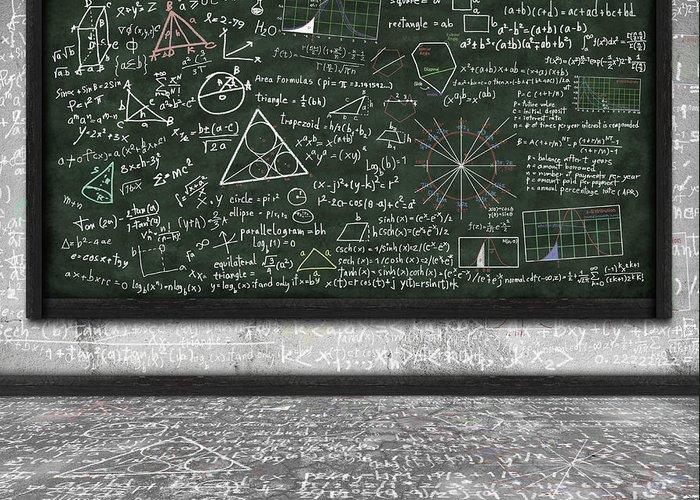 Algebra Greeting Card featuring the photograph Maths Formula On Chalkboard by Setsiri Silapasuwanchai
