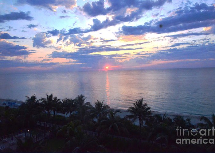 Sunrise Greeting Card featuring the photograph Miami Sunrise by Pravine Chester