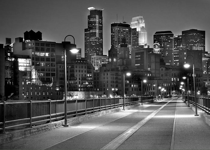 Minneapolis Skyline Greeting Card featuring the photograph Minneapolis Skyline From Stone Arch Bridge by Jon Holiday