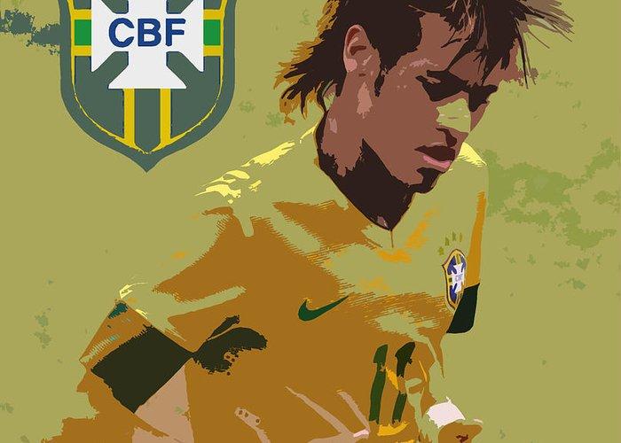 Lee Dos Santos Greeting Card featuring the photograph Neymar Art Deco by Lee Dos Santos