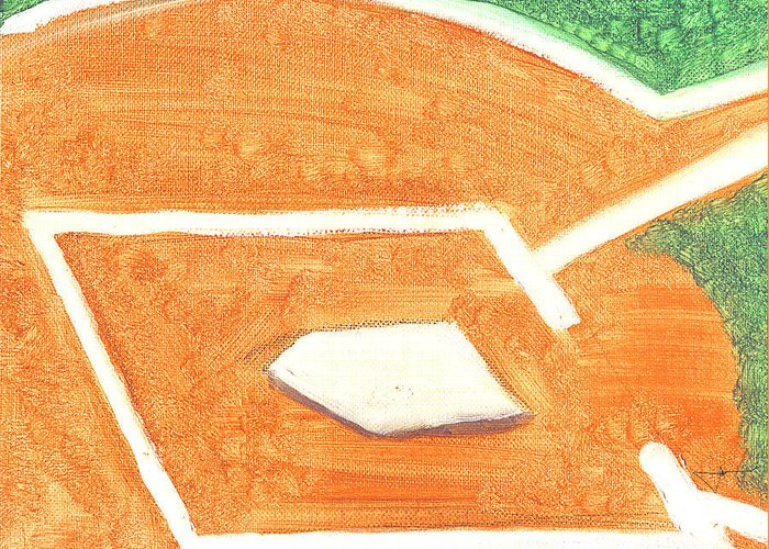 Baseball Greeting Card featuring the painting No Place Like Home by Jorge Delara