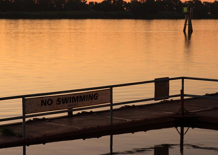 California Greeting Card featuring the photograph No Swimming Rio Vista Ca by Troy Montemayor