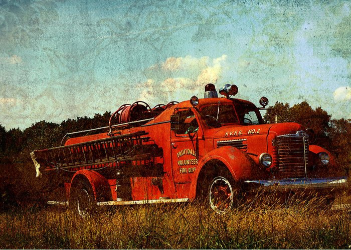 Fire Truck Greeting Card featuring the photograph Old Fire Truck by Off The Beaten Path Photography - Andrew Alexander