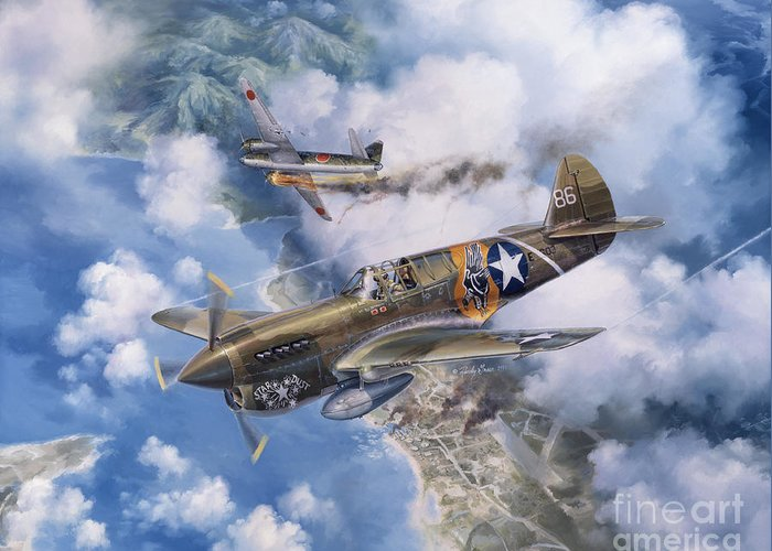 P-40 Warhawk Greeting Card featuring the painting One Off At Darwin by Randy Green