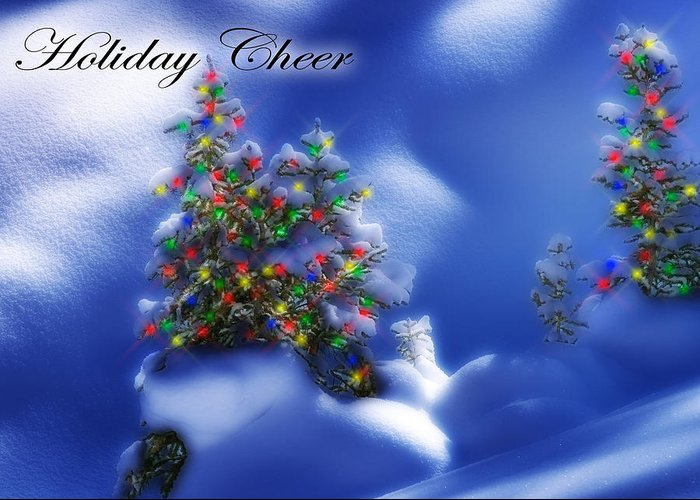 Christmas Lights Greeting Card featuring the photograph Outdoor Christmas Trees by Utah Images