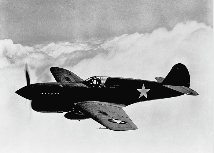 Ww2 Greeting Card featuring the photograph P-40 Warhawk by War Is Hell Store