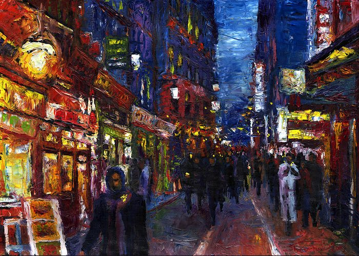 Oil Greeting Card featuring the painting Paris Quartier Latin 01 by Yuriy Shevchuk