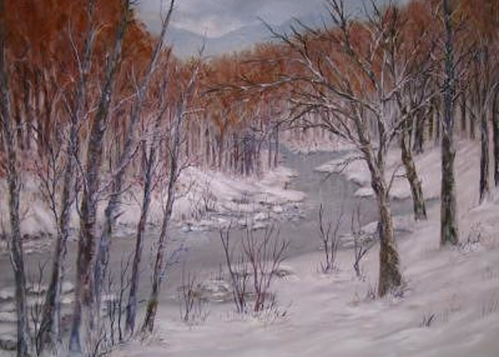 Snow; Landscape Greeting Card featuring the painting Peace And Quiet by Ben Kiger