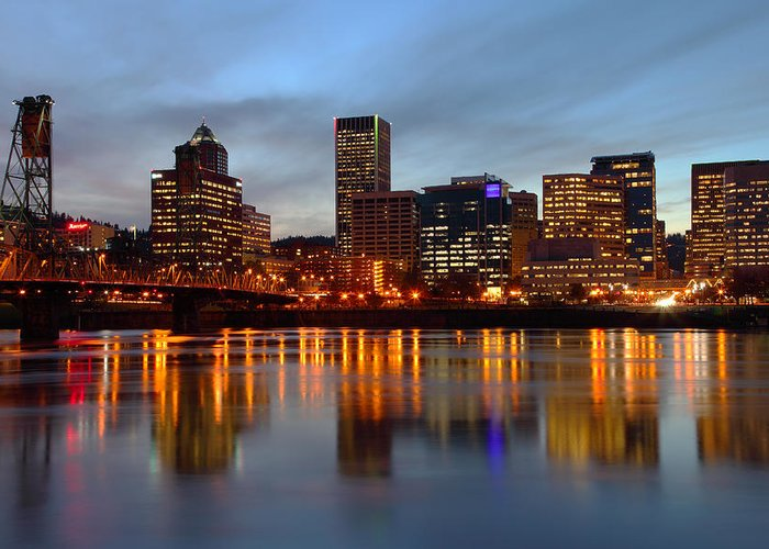 Blue Greeting Card featuring the photograph Portland Oregon At Dusk. by Gino Rigucci
