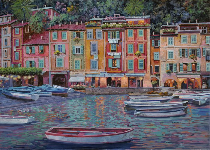 Portofino Greeting Card featuring the painting Portofino Al Crepuscolo by Guido Borelli
