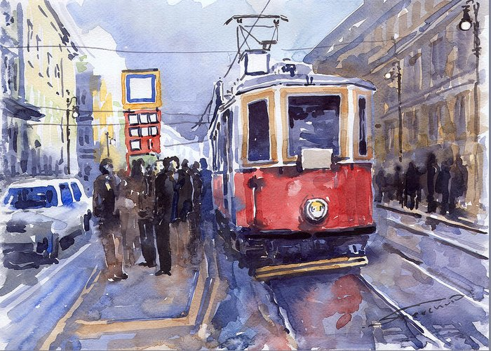 Cityscape Greeting Card featuring the painting Prague Old Tram 03 by Yuriy Shevchuk