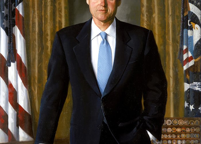 Bill Clinton Greeting Card featuring the painting President Bill Clinton by War Is Hell Store