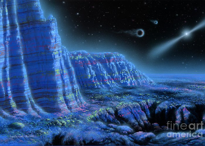 Lynette Cook Greeting Card featuring the painting Pulsar Planets II by Lynette Cook