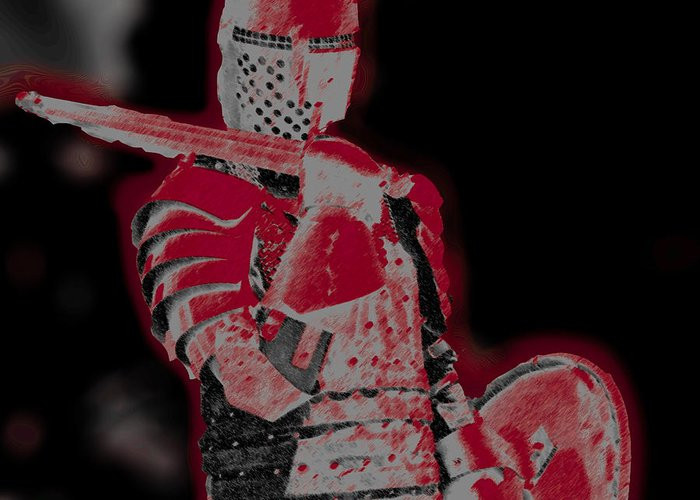 Medieval Knight Photographs Greeting Card featuring the photograph Red Knight by Lillian Michi Adams