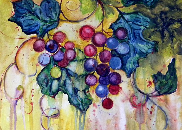 Grapes Greeting Card featuring the painting Red Water Color Grapes by Peggy Wilson