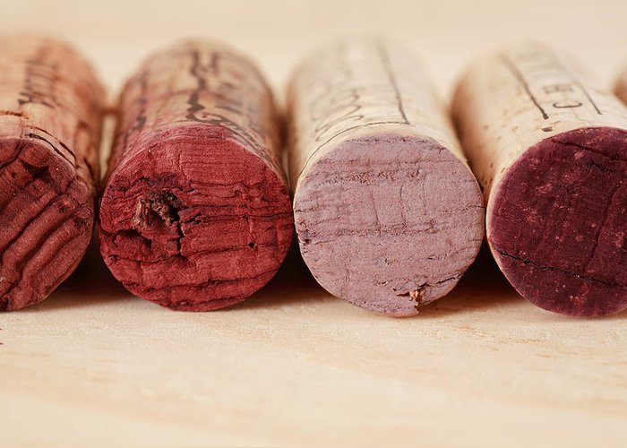 Red Greeting Card featuring the photograph Red Wine Corks by Frank Tschakert