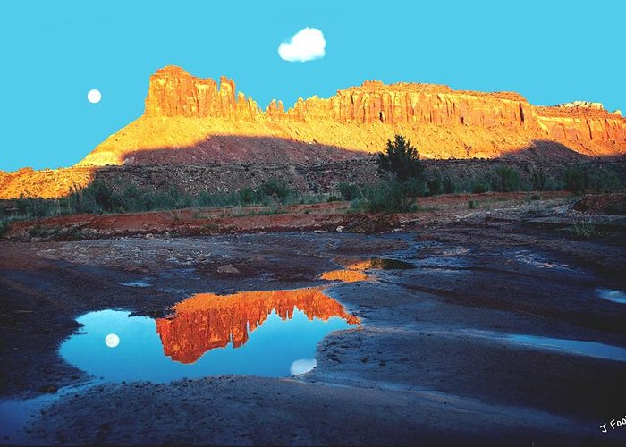 Red Rock Greeting Card featuring the photograph Reflective Intentions by John Foote