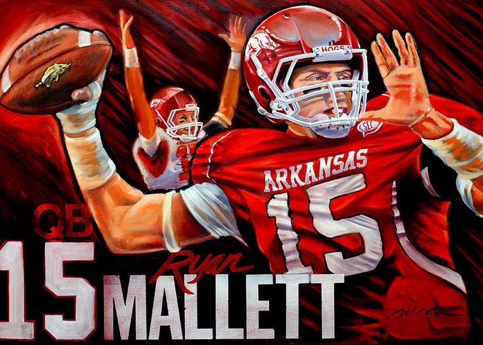 Sports Greeting Card featuring the painting Ryan Mallett by Jim Wetherington