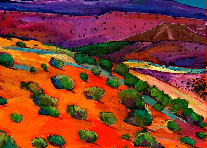 Southwest Landscapes Greeting Card featuring the painting Sage Slopes by Johnathan Harris