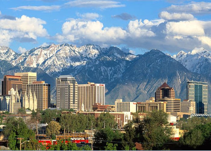 Salt Lake City Greeting Card featuring the photograph Salt Lake City Utah Skyline by Utah Images