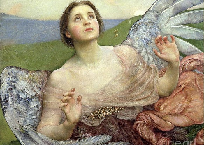 Personification; Wings; Angel; Female; Seeing; Pre-raphaelite; Victorian Greeting Card featuring the painting Sense Of Sight by Annie Louisa Swinnerton