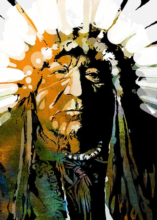 Native American Greeting Card featuring the painting Sitting Bear by Paul Sachtleben