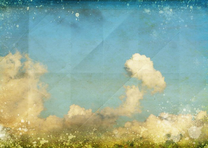 Abstract Greeting Card featuring the photograph Sky And Cloud On Old Grunge Paper by Setsiri Silapasuwanchai