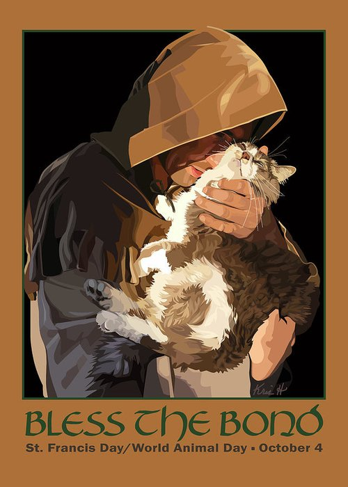 Animal Greeting Card featuring the digital art St. Francis With Cat by Kris Hackleman