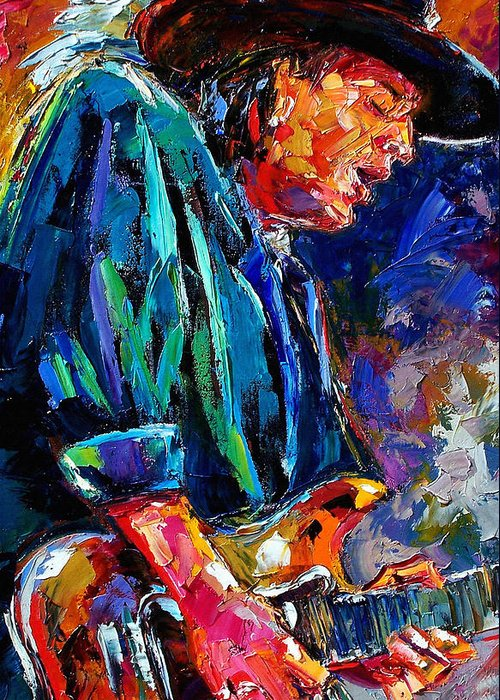 Stevie Ray Vaughan Greeting Card featuring the painting Stevie Ray Vaughan by Debra Hurd