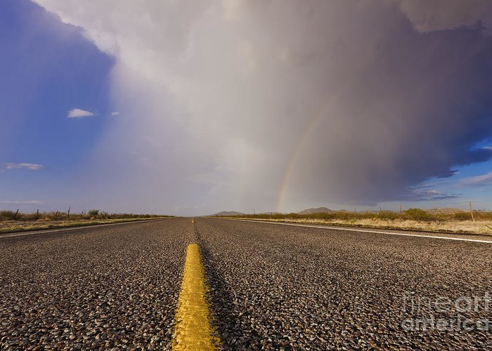 Arid Greeting Card featuring the photograph Storm And Rainbow Along The Highway by Jeremy Woodhouse