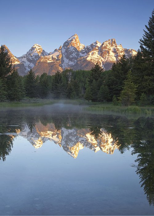 Mountain Greeting Card featuring the photograph Teton Reflections by Andrew Soundarajan