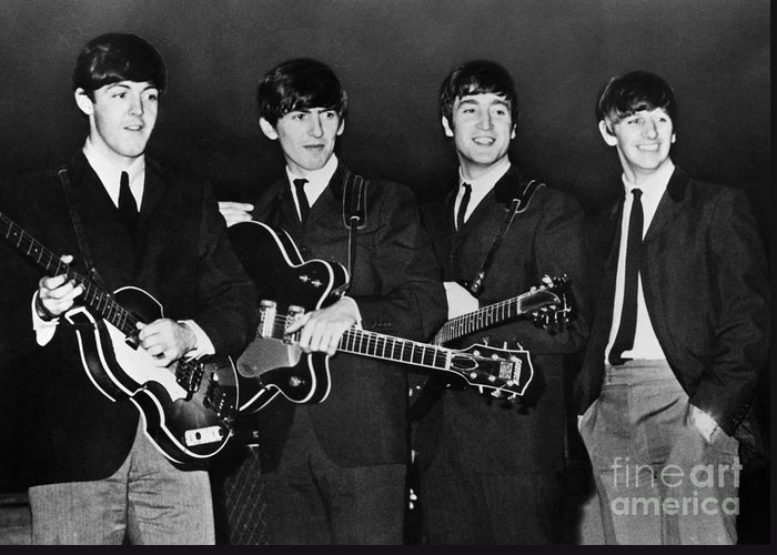 1960s Greeting Card featuring the photograph The Beatles by Granger