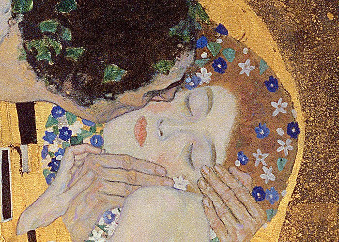 The Greeting Card featuring the painting The Kiss by Gustav Klimt