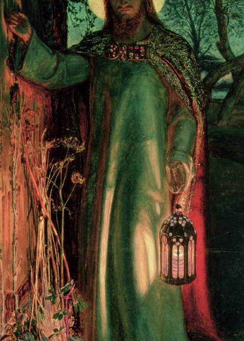 Jesus Greeting Card featuring the painting The Light Of The World by William Holman Hunt