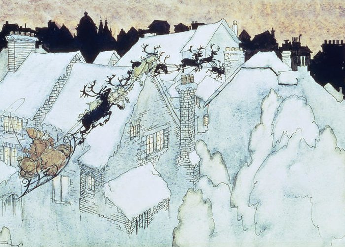 Father Greeting Card featuring the painting The Night Before Christmas by Arthur Rackham