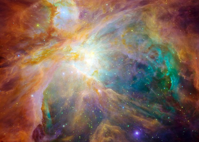 Square Image Greeting Card featuring the photograph The Orion Nebula by Stocktrek Images