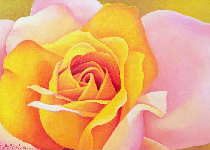 Flower; Yellow; Pink; Orange; Petals; Close Up; Rose Greeting Card featuring the painting The Rose by Myung-Bo Sim