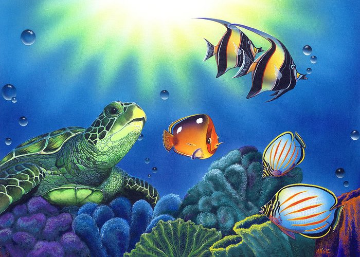 Turtle Greeting Card featuring the painting Turtle Dreams by Angie Hamlin