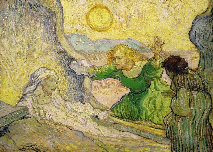Van Gogh Greeting Card featuring the painting Van Gogh Raising Of Lazarus After Rembrandt by Vincent van Gogh