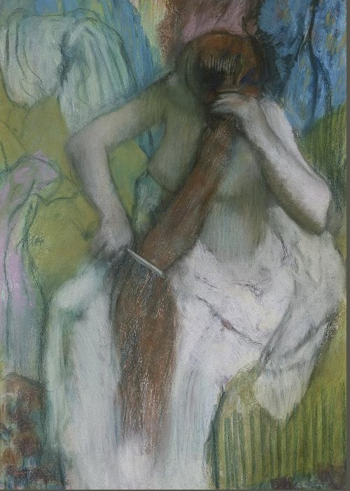 Female Greeting Card featuring the pastel Woman Combing Her Hair by Edgar Degas
