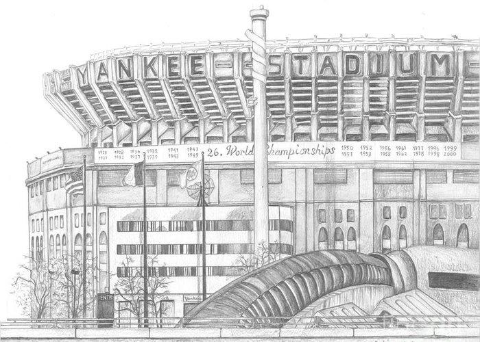Yankee Stadium Greeting Card featuring the drawing Yankee Stadium by Juliana Dube