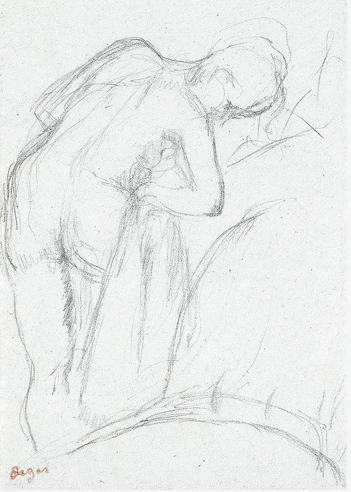 Degas Greeting Card featuring the drawing After The Bath by Edgar Degas