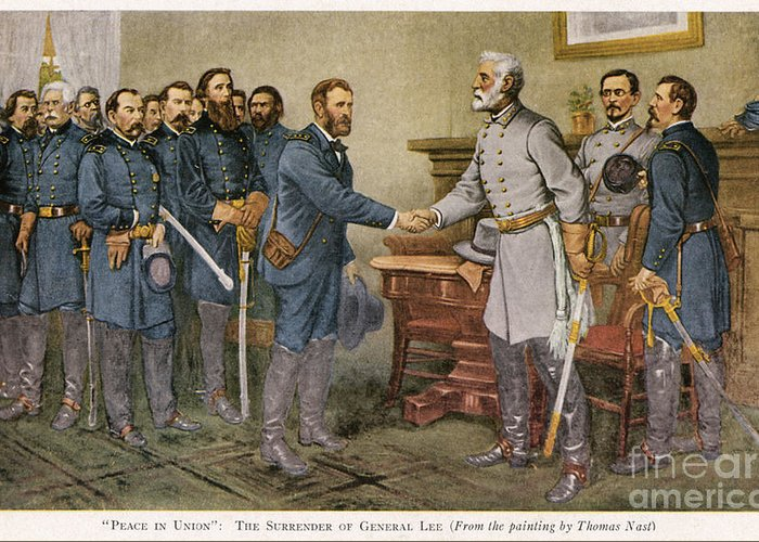 1865 Greeting Card featuring the photograph Lees Surrender 1865 by Granger