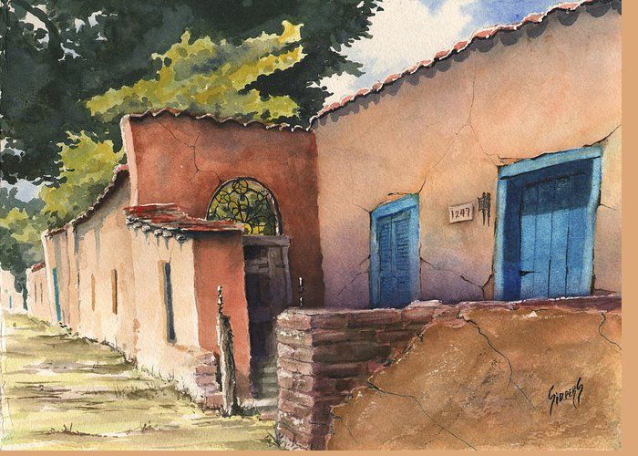 Adobe Greeting Card featuring the painting 1247 Agua Fria Street by Sam Sidders
