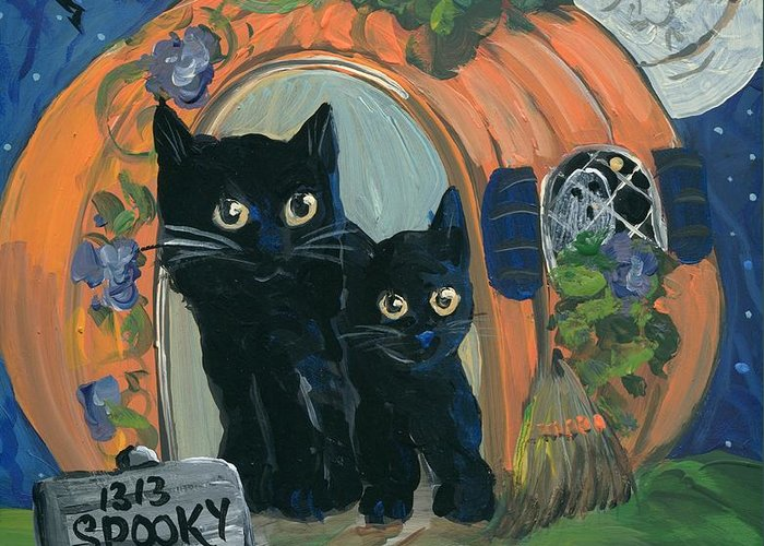 Halloween Greeting Card featuring the painting 1313 Spooky Lane by Sylvia Pimental