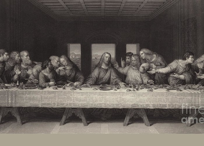 The Last Supper Greeting Card featuring the painting The Last Supper by Leonardo da Vinci